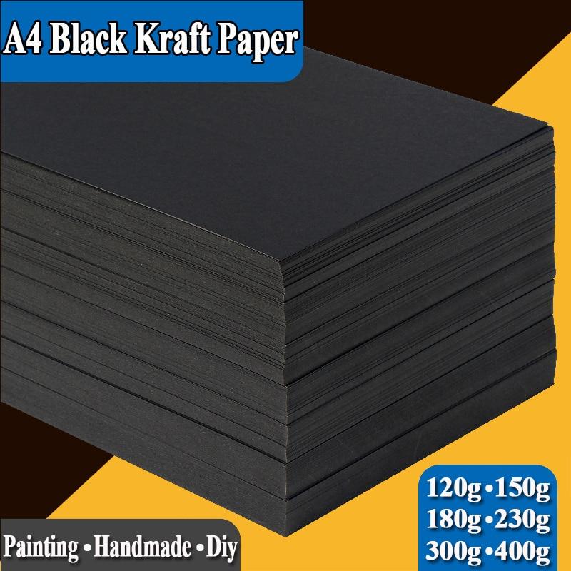 A4 Black Kraft Paper Handmade DIY Card Board Craft Paper Thick Pultipurpose Cardstock Graffiti Paperboard 20 50 Sheets Pack