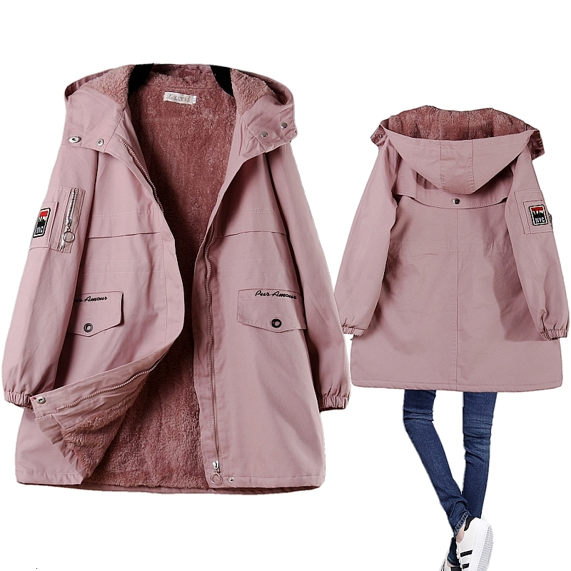 Winter Fleece Women Parka Female Hooded Mid Length Quilted Warm Winter Coat Padded Pink Blue Woman Windbreaker Jacket Large Size(China)