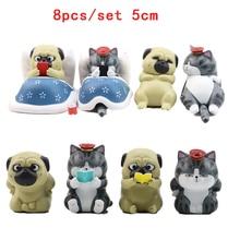 Figuras de acción de Mini gato y perro, juguete de gato perezoso, perro Pug, muñecos de acción de 5/8 Uds., regalo de cumpleaños para chico