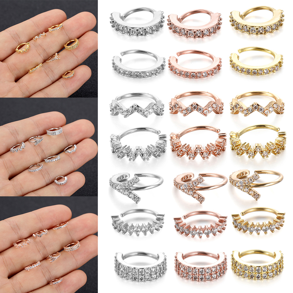 Fashion Multi CZ Hoop Nose Ring Daith Snug Piercing Tragus Helix Ear Cartilage Earring Surgical Steel Body Piercing Jewelry