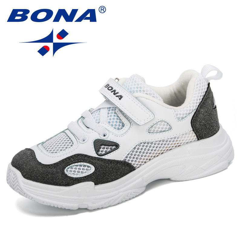 BONA 2020 New Designers Children Sports Shoes Boys Breathable Running Sneakers Kids Outside Travelling Leather Shoes Comfortable