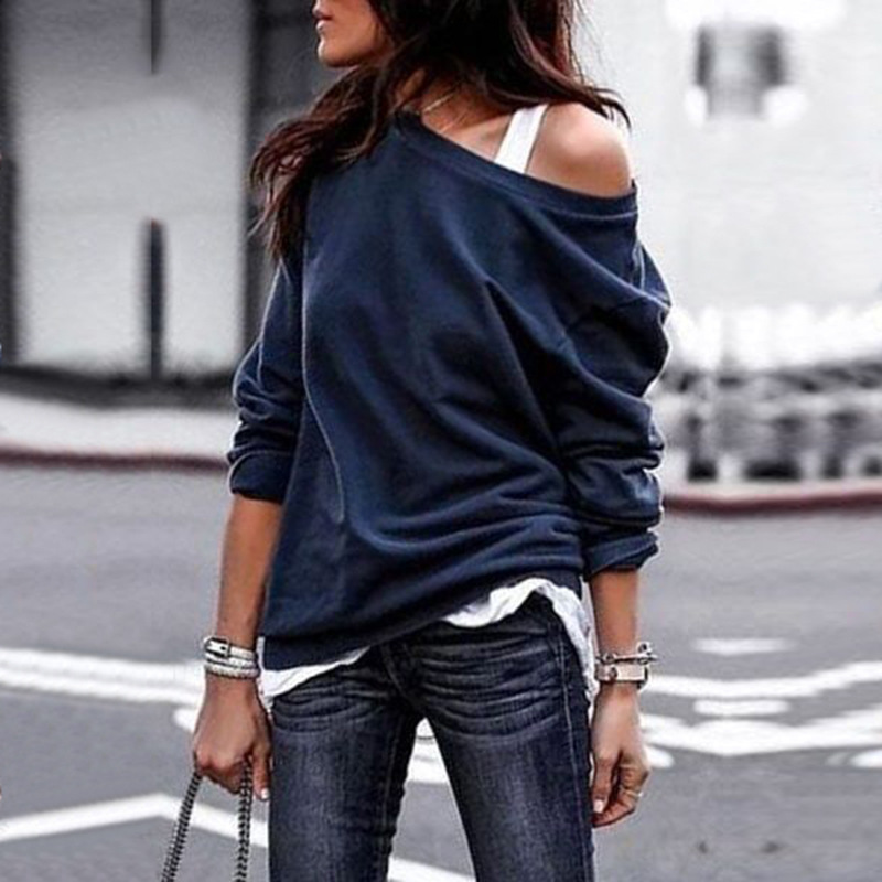 Women Top Clothing Sweatshirt Pullover Loose Long Coat Oversized Solid Pullovers Navy Blue Black Gray Red Streetwear Plus Size