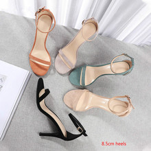 Womens Sandals 2020 Summer Solid High Heels Shoes Woman Ankle Strap Narrow Band Cover Heels Elegant Casual Wedding Career Shoes