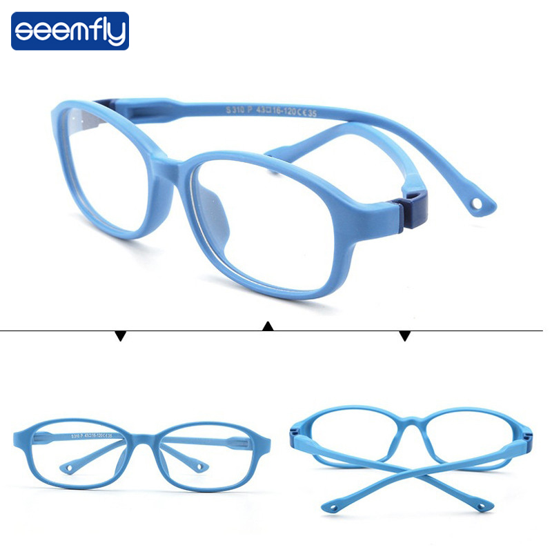 Seemfly Ultralight Detachable Children Glasses Boys&Girls Soft Silicone Round Frame Goggle Kids Solid Color Optical Eyeglasses