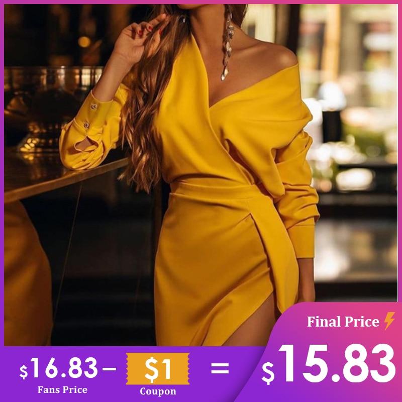 MissyChilli Long Sleeve V Neck Split Yellow Dress Women Elegant Bodycon Vintage Dress Spring Summer Sexy Party Club Night Dress