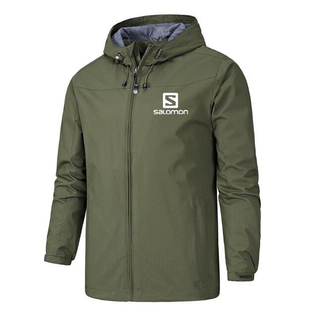 New Spring Jacket Men Hooded Zipper Waterproof Coat Windproof Solid Color Fashion Male Coat Outdoor Sportswear Bomber Coats 5XL 2
