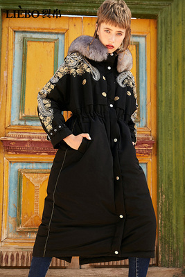 Winter Coat Female Embroidery Warm Duck Jacket Women Clothes 2020 Vintage Long Down Overcoat Hiver 51180545.
