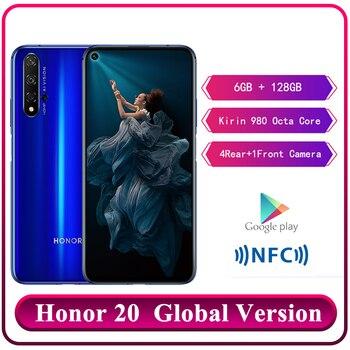 Перейти на Алиэкспресс и купить Оригинальный смартфон Huawei Honor 20, 6 ГБ RAM, 128 ГБ ROM, Kirin 980, Восьмиядерный, 6,26 '', 48 МП, задняя камера, Android 9,0, Google Play, телефон