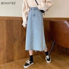 Jupe en Denim bleu uni pour femme, tenue élégante et facile à assortir, Style coréen, Streetwear, été