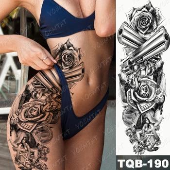 Large Arm Sleeve Tattoo Lion Crown King Rose Waterproof Temporary Tatoo Sticker Wild Wolf Tiger Men Full Skull Totem Tatto 5