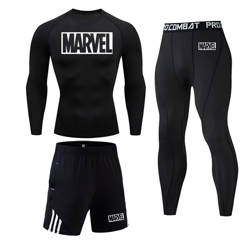 Top MARVEL Man Compression Sports Suit Quick Drying Fitness Training MMA Kit Rashguard Male Sportswear Jogging Running Clothes