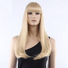 HAIRJOY  Women Synthetic Hair Neat Bangs Long Straight Heat Resistant Fiber Wigs 8 Colors  Available