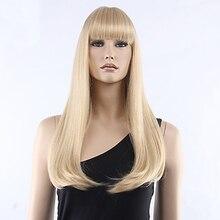 HAIRJOY kadınlar sentetik saç düzgün patlama uzun düz ısıya dayanıklı iplik peruk 8 renkler mevcut