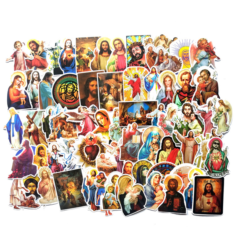68pcs Jesus Christian Prayer Cartoon Stickers Toy Luggage PVC Sticker Motorcycle And Luggage Notebook Blessing Sticker F3