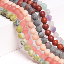 Natural Matte Fluorite Turquoises pink aventurine Frosted beads natural stones loose beads for jewelry Making bracelet bead diy