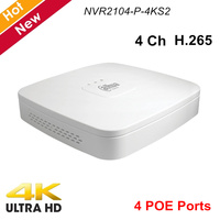 Dahua 4 Channel Smart 1U 4 PoE Ports 4K H.265 Network Video Recorder NVR2104 P 4KS2 Lite 1 HDD Up to 8Mp Resolution NVR