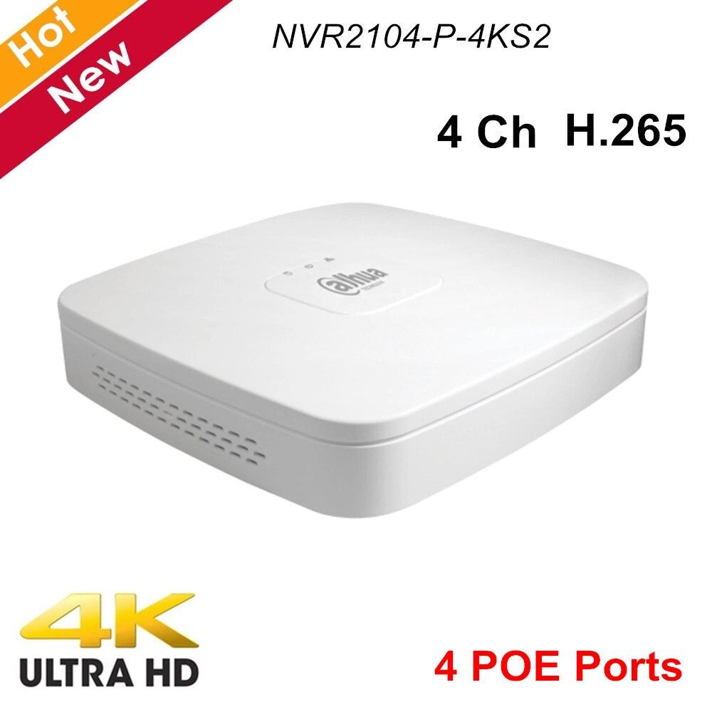 Dahua 4 canaux Smart 1U 4 Ports PoE 4K H.265 enregistreur vidéo réseau NVR2104-P-4KS2 Lite 1 HDD jusqu'à 8Mp résolution NVR
