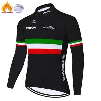 STRAVA-Camiseta de manga larga para ciclismo para hombre, camisa de lana italiana...