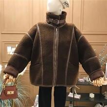 Новинка 2020 зимнее женское пальто из искусственной кожи плюшевое
