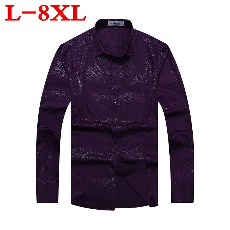 Plus Size 10XL 8XL 6XL 5XL New Arrival Cotton Mens Oxford Casual Shirts Spring  Long Sleeve Loose Fit Spring Dress Shirt Men
