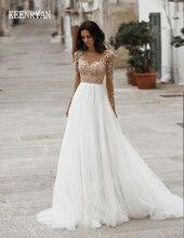 New Arrival Elegant Wedding Dress 2020 Long Sleeve Crystal Tulle Appliques Bride Dress Court Train Wedding Gowns