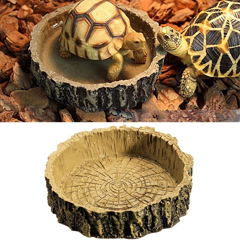 Pet Reptile Accessories Reptile Tortoise Water Dish Food Bowls Toy Amphibians Gecko Snakes Cricke Lizard Simulation Resin Bowls