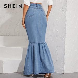 Image 4 - SHEIN Blue Button Front Fishtail Hem Denim Maxi Skirt Women Autumn Pocket High Waist Party Casual Slim Fitted Mermaid Skirts