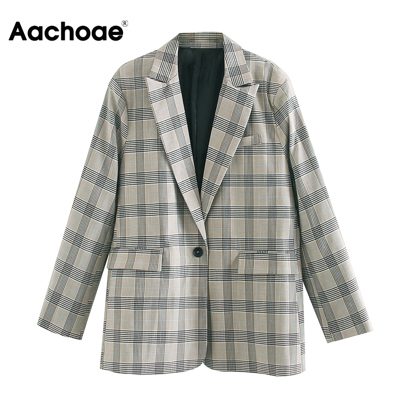 Aachoae Women Office Plaid Suit Blazer 2020 Long Sleeve Notched Collar Loose Jacket Ladies Single Breasted Casual Outwear Coat