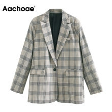 Aachoae Women Office Plaid Suit Blazer 2020 Long Sleeve Notc