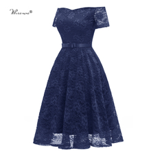 Whisnos Brand Short Prom Dress 2020 Off The Shoulder Short Sleeve Navy Blue Color Lace Elegant Party Girls Evening Dresses