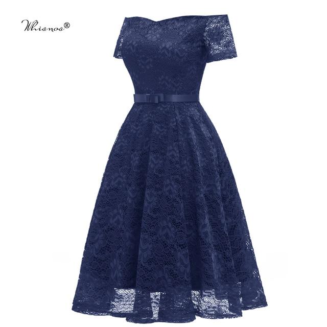 Whisnos Merk Korte Prom Jurk 2020 Uit De Schouder Korte Mouwen Navy Blue Kleur Kant Elegante Party Meisjes Avondjurken