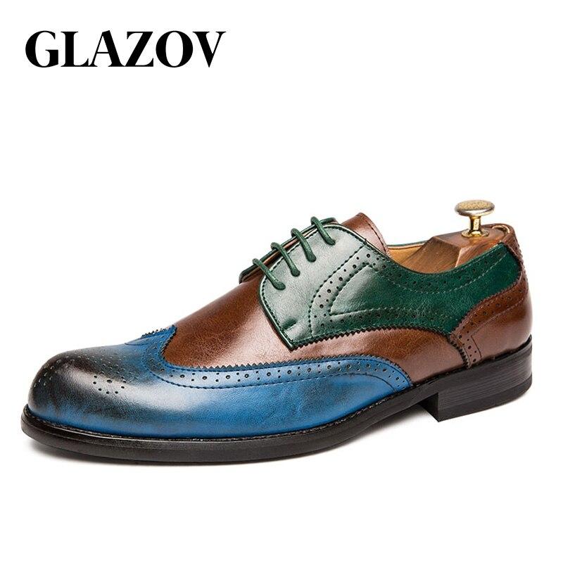 Tamaño grande 38-47 hombres zapatos Oxford de piel verde Británico Azul zapatos hechos a mano cómodo Formal vestido hombres pisos con cordones Bullock