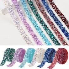 80cm nova fita de strass guarnição resina cristal decoração hotfix strass fita aparamento para diy sapatos faixa vestuário chapéu brilhante