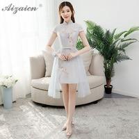 Oriental Style Satin Dress Cheongsam Modern Bridesmaid Elegant Short Gown Qi Pao Women Chinese Evening Dresses Qipao Orientale