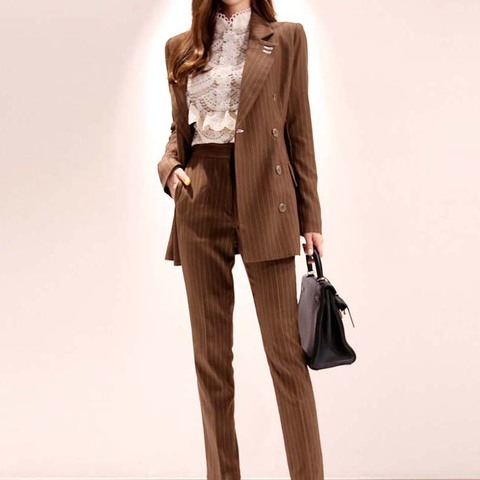 2019 New Office Work Striped Blazer Suits Of High Quality OL Women Pants Suit Blazers Jackets With Trouser Two Pieces Set Pakistan