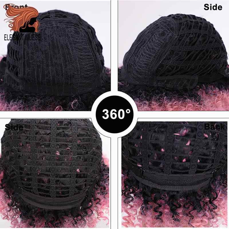 ELEGANT MUSES Synthetic Wigs Short Afro Kinky Curly Ombre Pink Hair for Black Women 10Inches Wigs Natural Black Heat Resistant