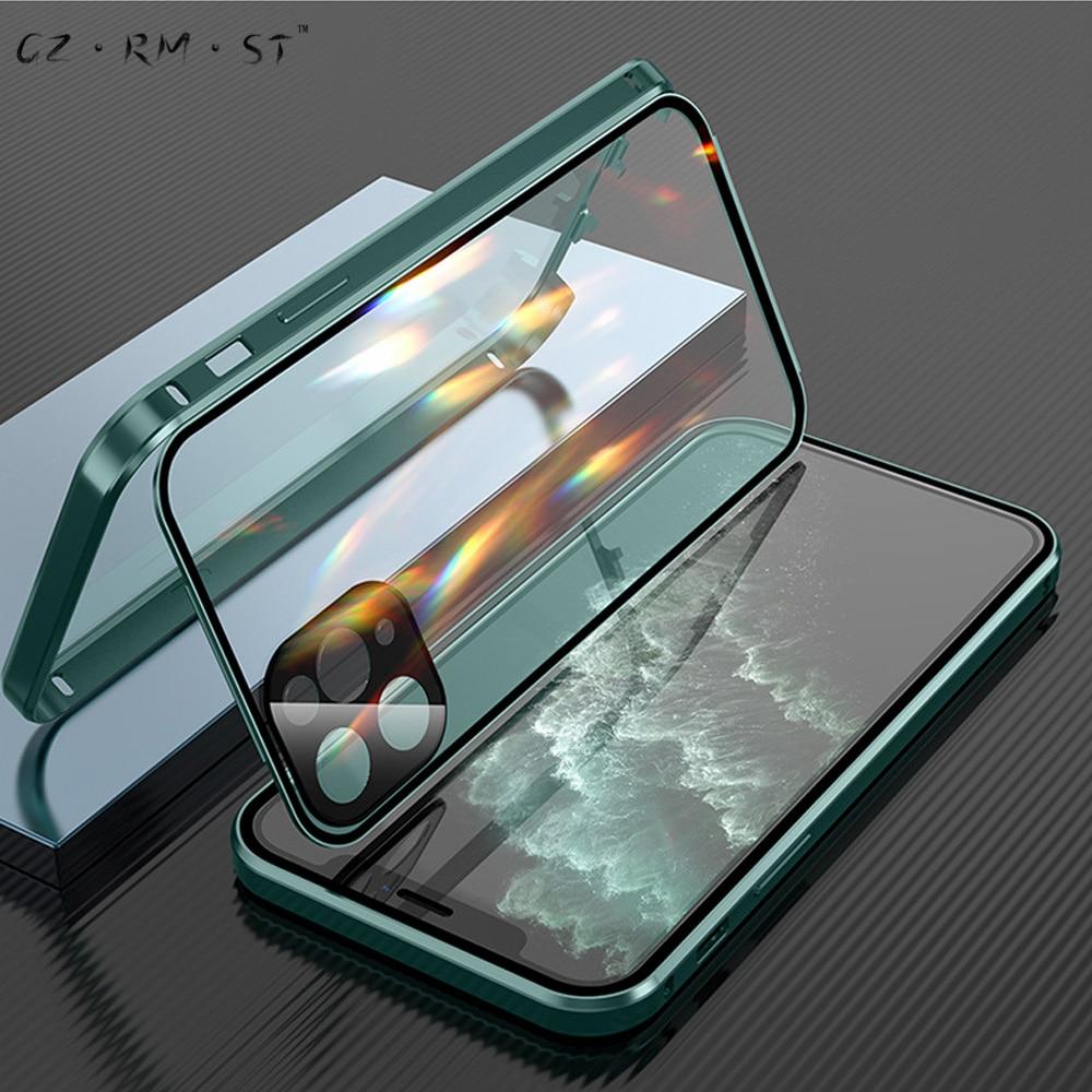 Convient pour Apples 120,000 magnétique roi double face boucle iphone11promax téléphone mobile coque verre nouveau métal tout compris m