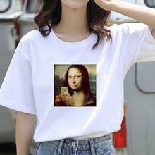 Футболка женская с принтом Моны Лизы эстетичная забавная рубашка