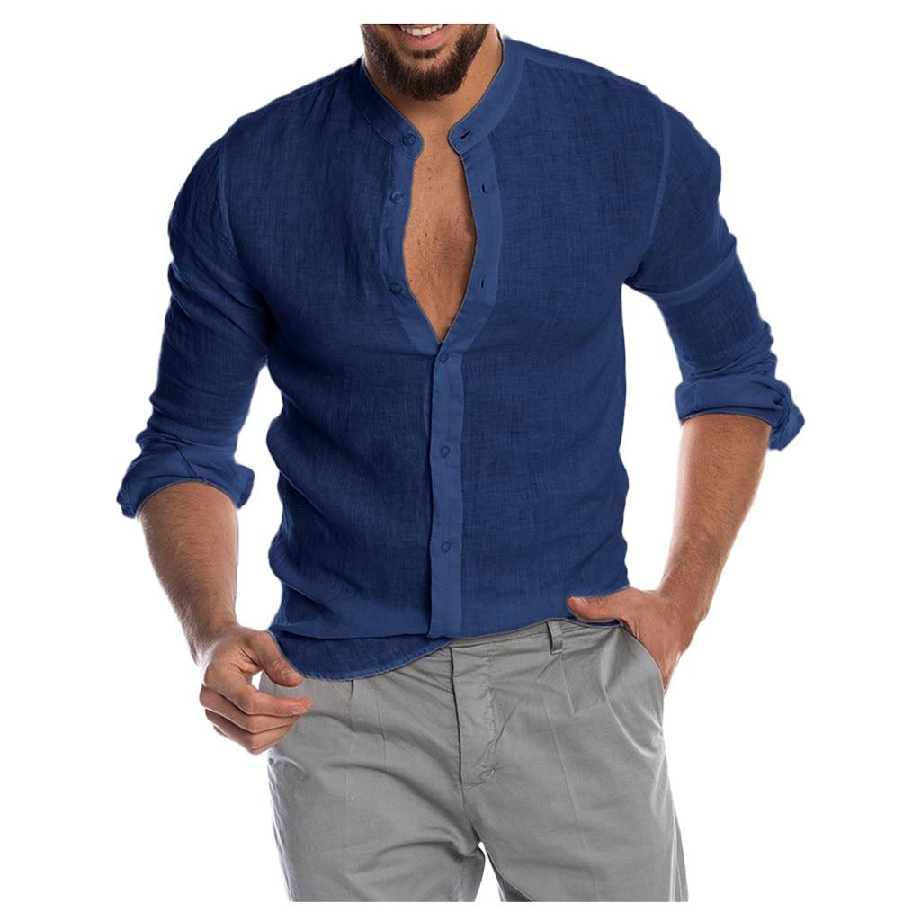 2020 New Men's Casual Cotton Linen Long Sleeve Shirt Men Men's Clothings Men's Shirts Men's Tops