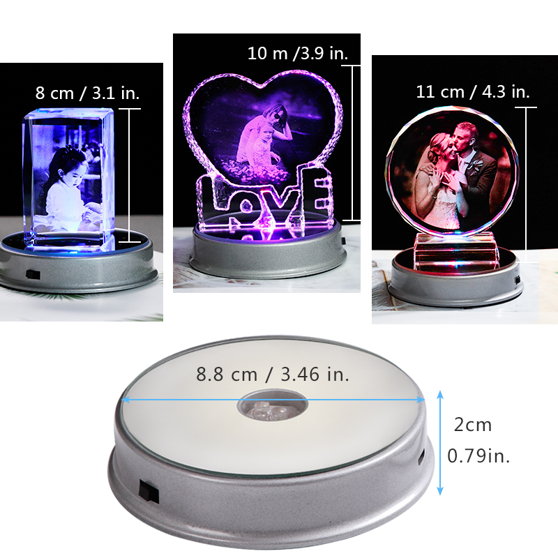 Image 5 - Customized Crystal Photo Frame Colorful LED Base Laser Engraved  Picture Souvenir Gift Personalized Glass Wedding Photo FrameFrame   -