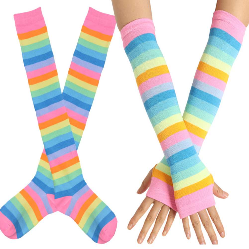 Fashion Slim Striped Women Stockings Set Party Anti Slip Long Gloves Elastic Over Knee Casual Cosplay Cotton Blend Rainbow Soft