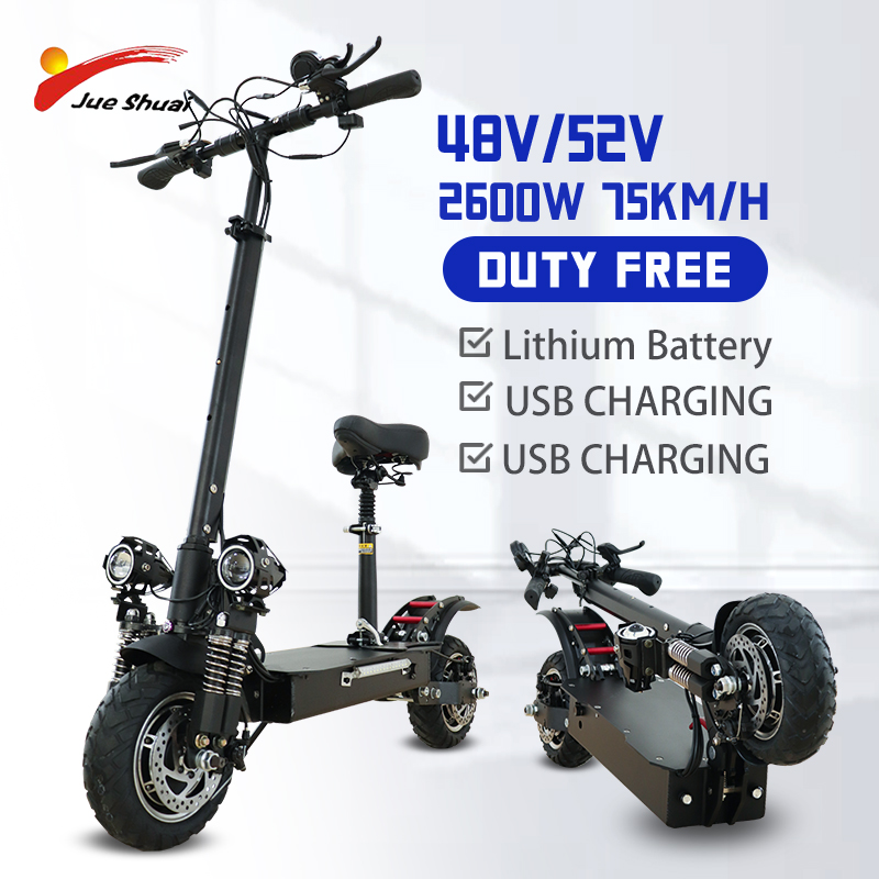 Jueshuai 2600W Dual Motors Electric Scooter Kick Scooter for Adults 10 inch Big Wheel Electric Skateboard Escooter EU STOCK