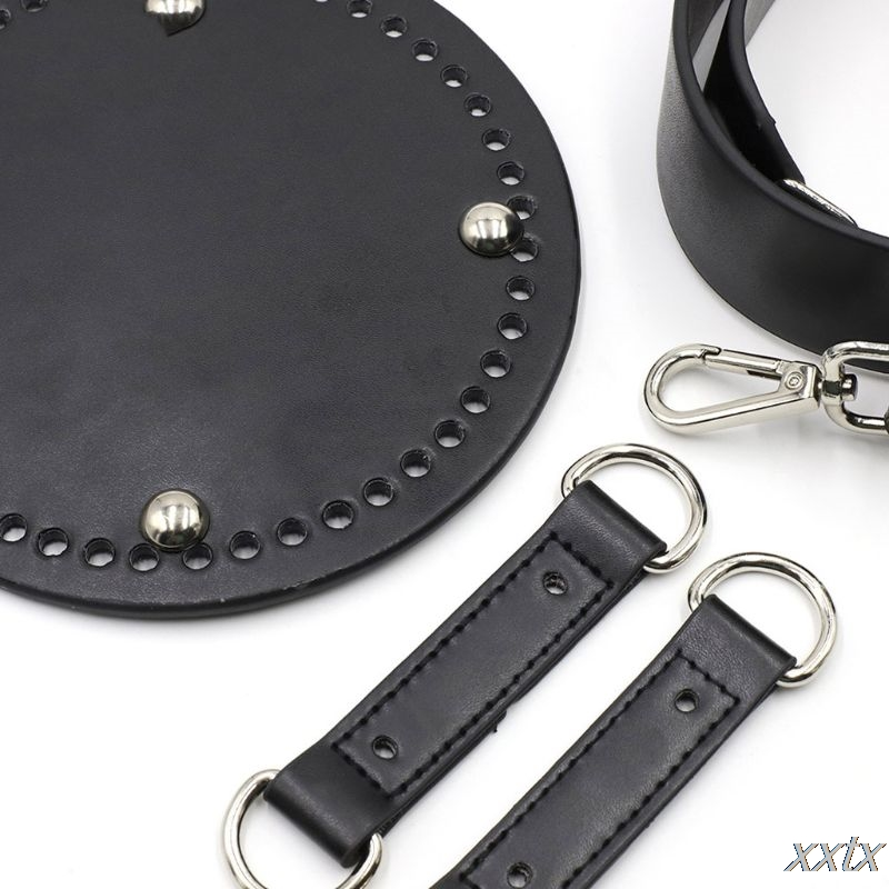 4Pcs/Set Faux Leather Bucket Bag Bottom Wide Shoulder Strap for DIY Knit Handbag A69C