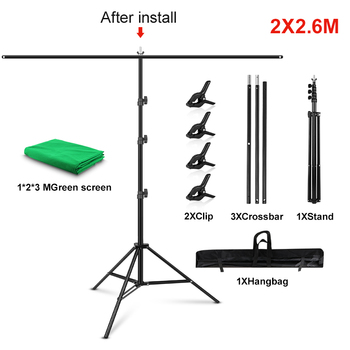 1.5/2/2.6M*2M T-Shape Backdrop Stand With Green Screen Photo Background Support For Birthday Portrait Photo Studio Photography 7