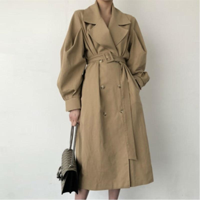 2019 Women Autumn Long Coat Windbreaker Korean Double Breasted   Trench   Coat Black Loose Belted Temperament Vintage Vee Top