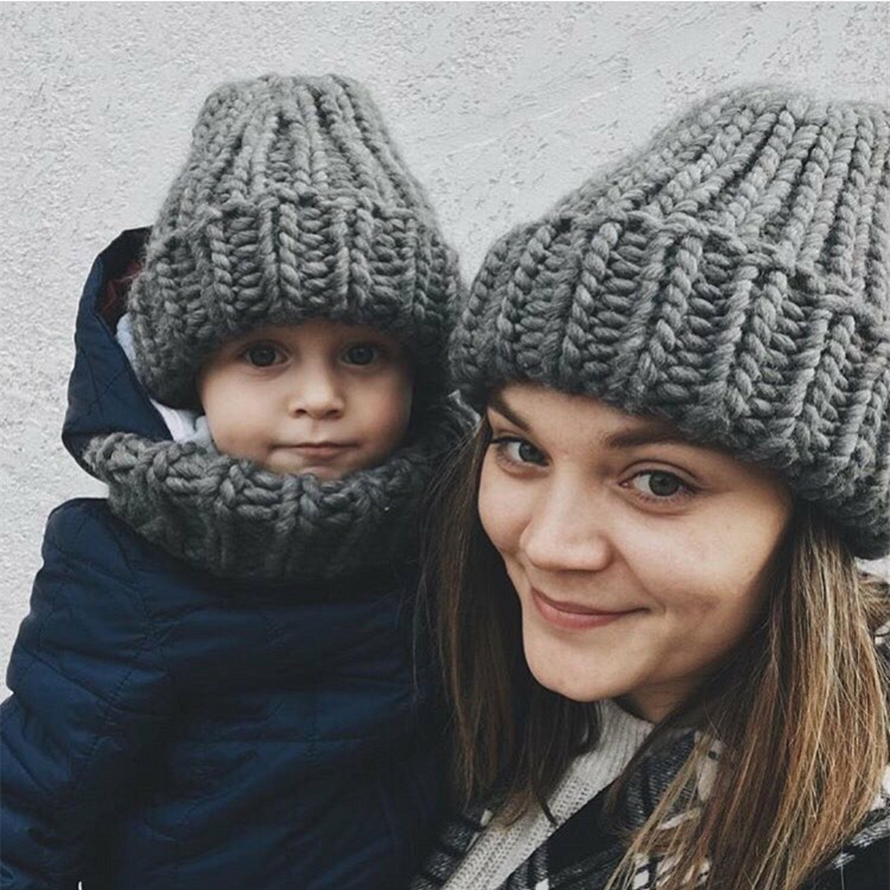 Women Winter Knitted Beanies Hat Thick Soft Warm Coarse Large Knitted Solid Hat Female Ice Ski Bonnet Skullies Beanies Hat Cap 30