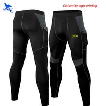 Leggings LOGO Sportswear-Pants Elastic-Trousers Compression-Pocket Running-Tights Fitness-Training