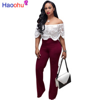 Off Shoulder Hollow Out Lace Jumpsuit for Women Backless High Waist Causal Elegant Rompers Plus Size Short Sleeve Slim Bodysuit
