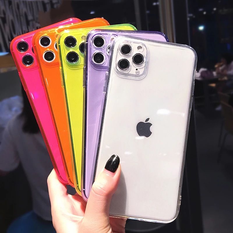 For iPhone 11 Soft TPU Clear Case For iPhone 12 Pro Max 11 Pro Max X XR XS 7 8 Plus SE 2020 Fluorescent Camera Protection Cover