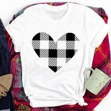 В клетку с принтом «любящее сердце» футболка Для женщин короткий